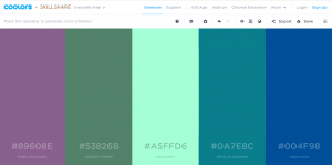 Coolors screen palette