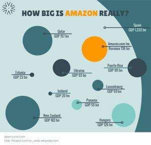 Gráfico sobre la magnitud real de el negocio de Amazon y cómo ha crecido estos años.