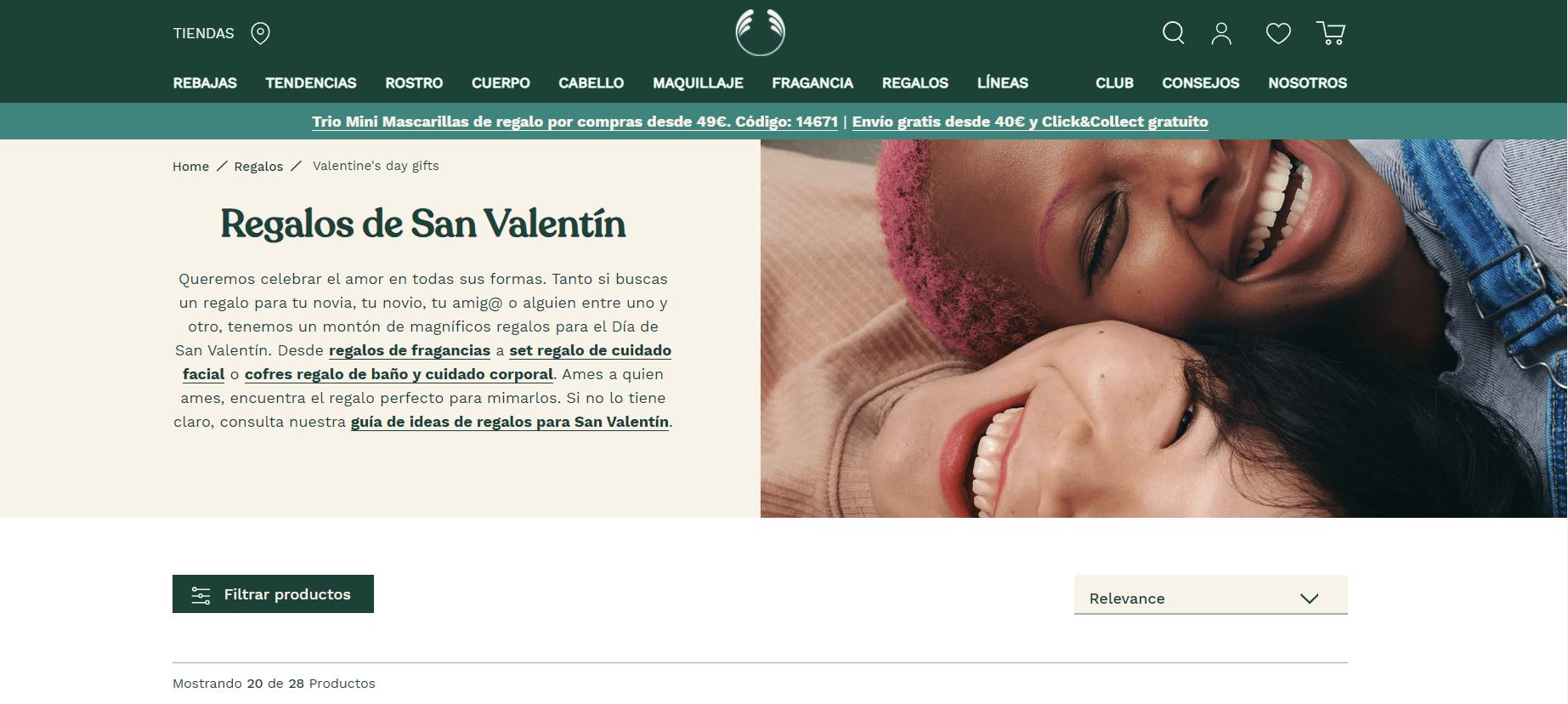 Mujeres sonrientes en la campaña de marketing en San Valentín de Body Shop.