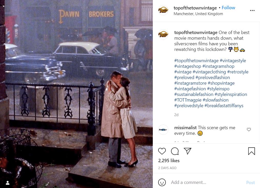 Conversación en el feed de Instagram de la película de Desayuno con diamantes para el día de San Valentín.