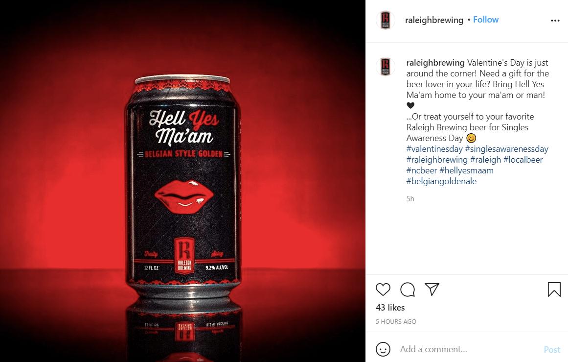 Diseño del envase para el día de San Valentín de la marca Raleigh Brewing